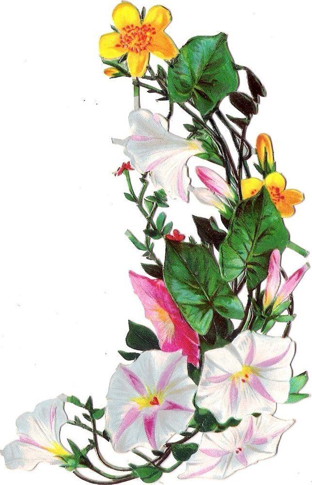 Oblaten Glanzbild scrap die cut chromo Blume 13cm flower fleur: