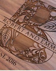 Engraved Cutting Board – Floral Monogram