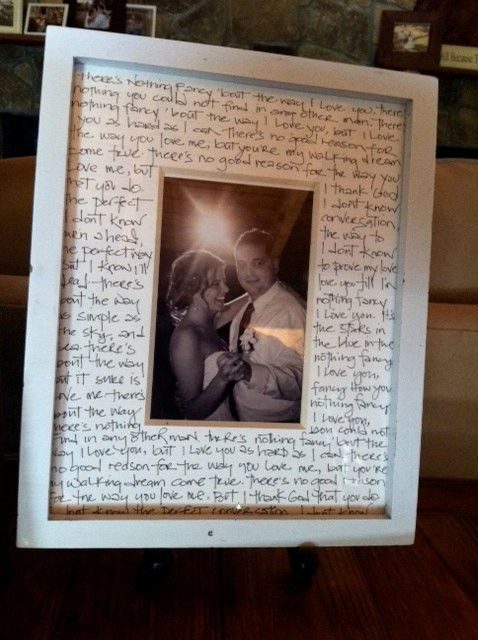 Great anniversary gift.  A picture of your first dance as man and wife with your song lyrics written on the mat.