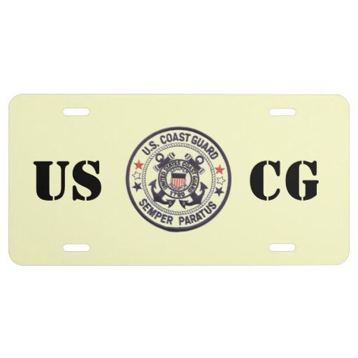 United States Coast Guard License Plate- $27.95-Express yourself with a custom front license plate to match your vanity plate! Create your designs from scratch or customize it with your images or text for a vibrantly printed license plate that will stand out. Made with aluminum, these plates are water-resistant and appropriate for operational use in states that do not require 2 plates. Great as a gift or for anyone who is licensed to drive!  #USCG    #CoastGuard   #FrontPlate…