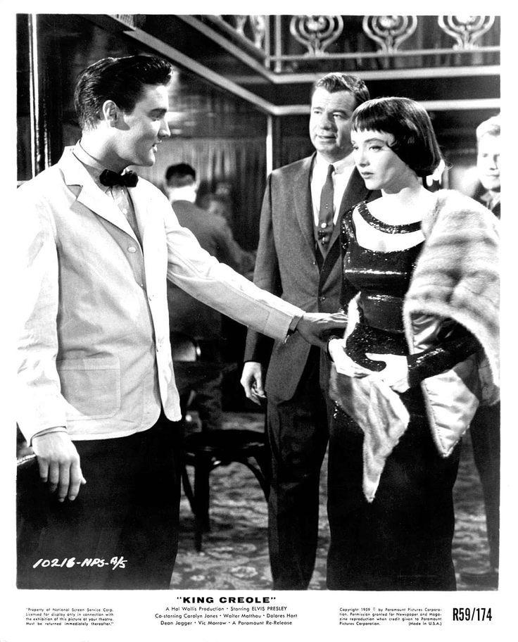 Elvis Presley, Walter Matthau and Carolyn Jones in 'King Creole', 1958.
