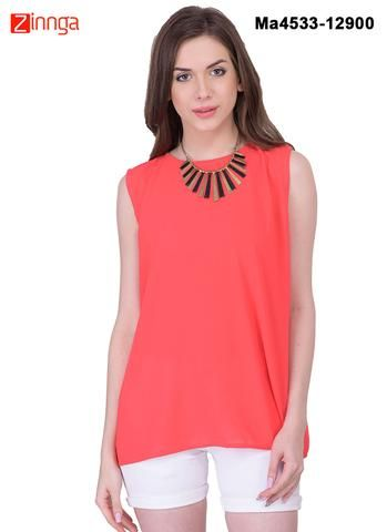 MAYLOZ E-COMMERCE-Women's Stylish  Red  Color Georgette Top