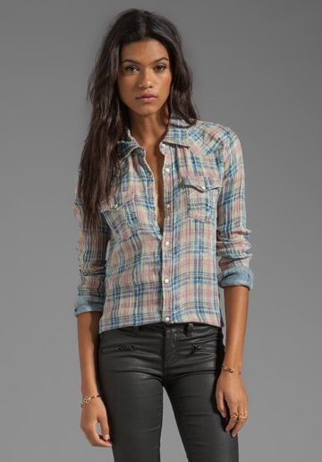 TRUE RELIGION Georgia Shirt in Thistle - Plaids. I think she forgot a few buttons but otherwise I love it.