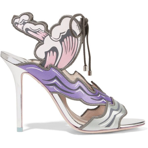 Sophia Webster - Heaven Tempest Orchid Satin And Suede Sandals (€350) ❤ liked on Polyvore featuring shoes, sandals, purple, high heel shoes, purple suede shoes, butterfly sandals, sophia webster sandals and purple high heel shoes