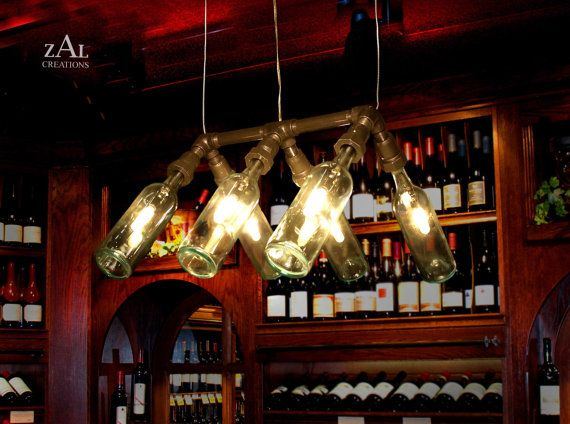 Suspension Lamp Wine Bottles Pendant Light by ZALcreations on Etsy, $465.00