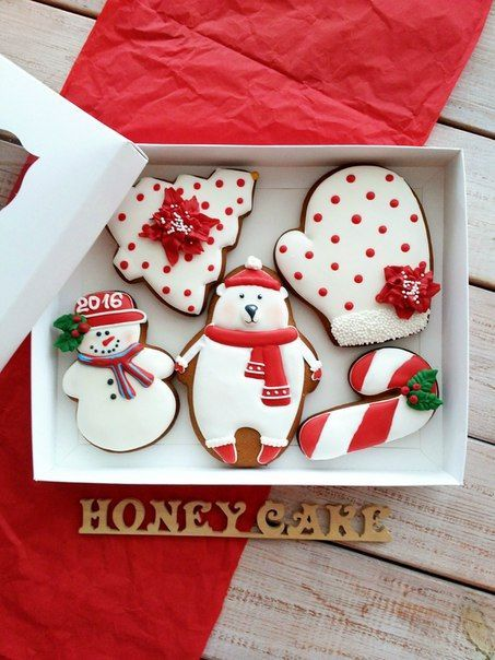Easy decorated Christmas cookies for beginners. Holiday polar bear, mitten, tree, candy cane and snowman.