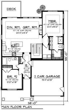 Craftsman Style House Plan - 2 Beds 2.00 Baths 1334 Sq/Ft Plan #70-1259 Floor Plan - Main Floor Plan - Houseplans.com