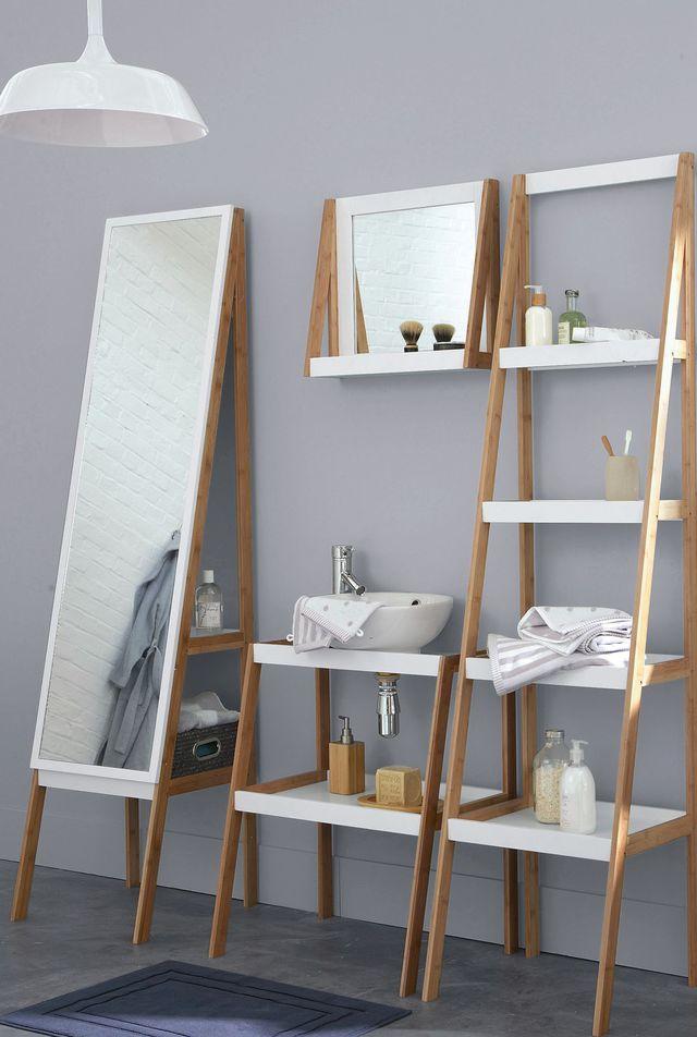 17 meilleures id es propos de miroir de bambou sur for Miroir salle de bain rangement