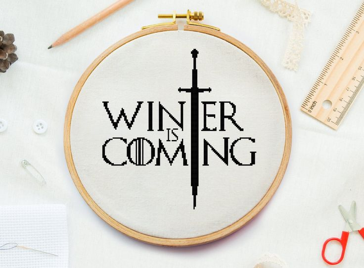 Game of Thrones Winter kommer korssting mønster, mor til drager korssting, Jon Snow, Game of Thrones Winter kommer kryss   Game of Thrones Winter is coming cross stitch pattern, mother of dragons cross stitch, Jon Snow, Game of Thrones Winter is coming cross by CrossPatternStitchUA on Etsy