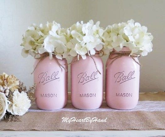 Quart Size Ballerina Pink Distressed Mason Jars, Baby Pink Painted Vases, Rustic Party Decor, Baby Shower Centerpieces, Wedding Table Decor by MyHeartByHand on Etsy