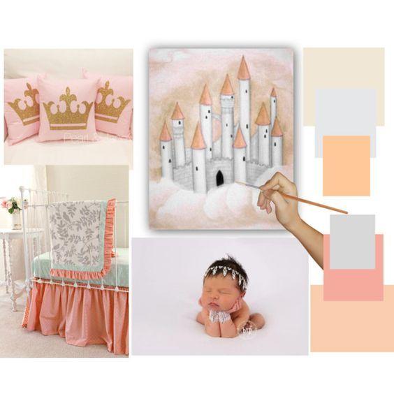 Kids Nursery Prints: Princess Castle Nursery Art, Princess Decor on pea...