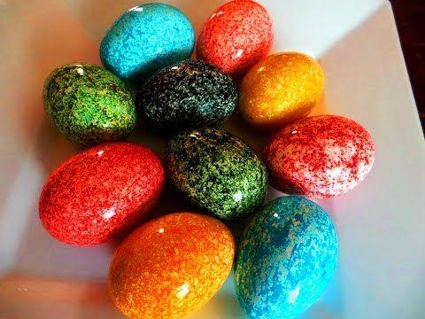 Oua vopsite de Pasti. CEA MAI USOARA SI RAPIDA METODA. How to dye Easter eggs - YouTube