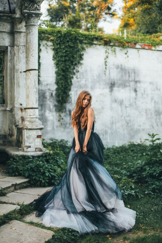 Volumetric black tulle gown embroidered lace top by MywonyBridal