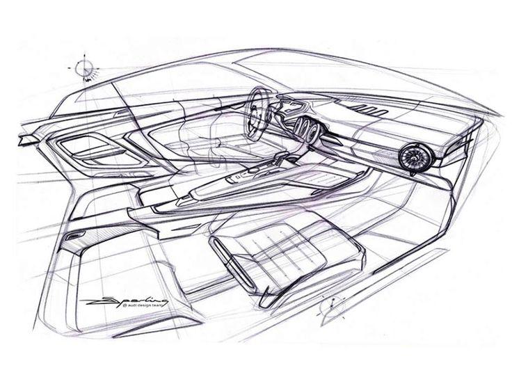 Audi TT, sketch by Artur Sperling, interior designer Audi AG