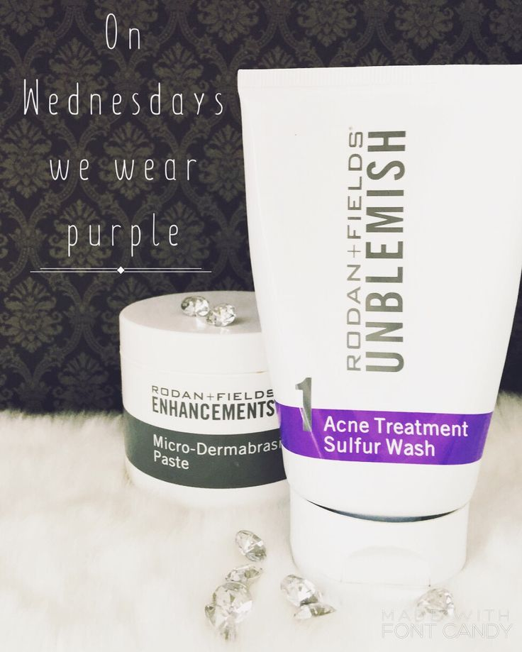 On Wednesdays we wear purple. These 2 Rodan +Fields products paired together help take care of those pesky blackheads! Exfoliate with our microdermabrasion paste then comes the purple....The UNBLEMISH sulphur wash doubles as a mask. Leave it on until it dries and just rinse! Follow up with a Rodan + Fields toner and one of our anti-aging creams day for or night to achieve that clear, glowing skin!