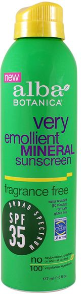 SPF 35 Very Emollient Mineral Spray Sunscreen - Fragrance Free by Alba Botanica (6oz Sunscreen)