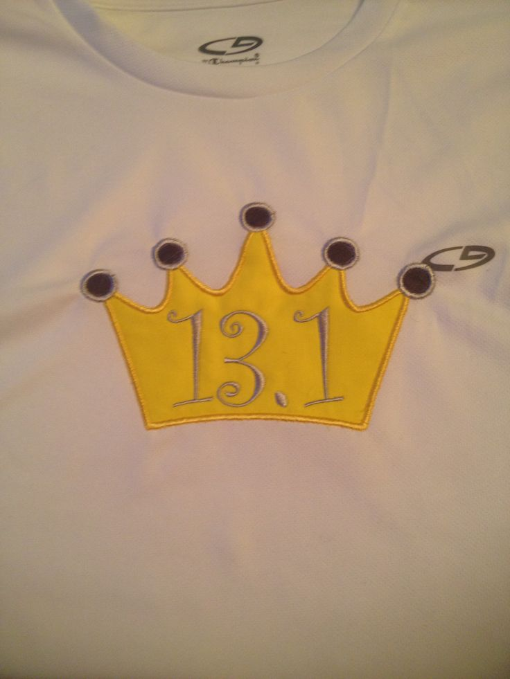 Yellow crown appliqué to match her yellow skirt for the 13.1 race in Disney!! Goooo Cookie!!
