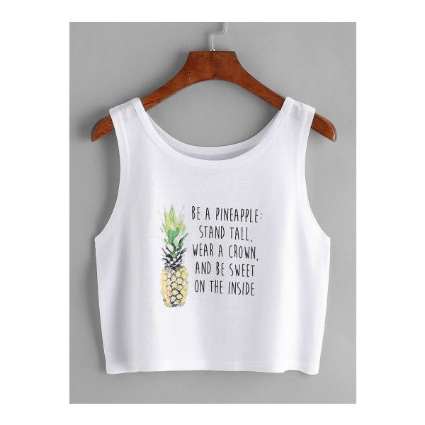 SheIn(sheinside) Pineapple And Slogan Print Crop Tank Top ($9) ❤ liked on Polyvore featuring tops, white, cropped cami, white crop tops, cropped tops, pineapple tank top and cami tank tops