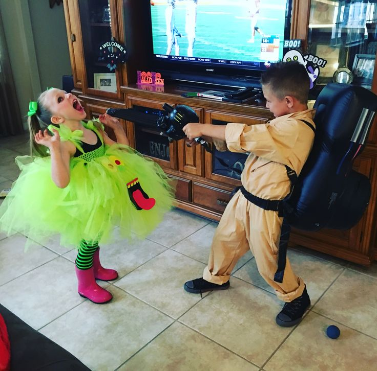 Slimer and the ghostbuster Halloween costume
