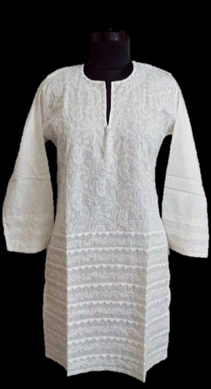 White Pure Cotton Chikan Kurta Online