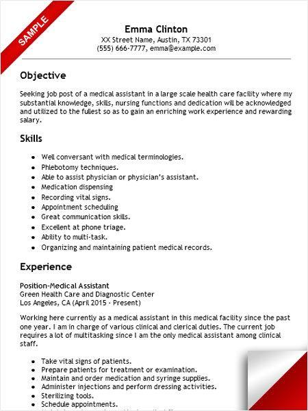 Best Resume For Medical Assistant. Medical Assistant Job