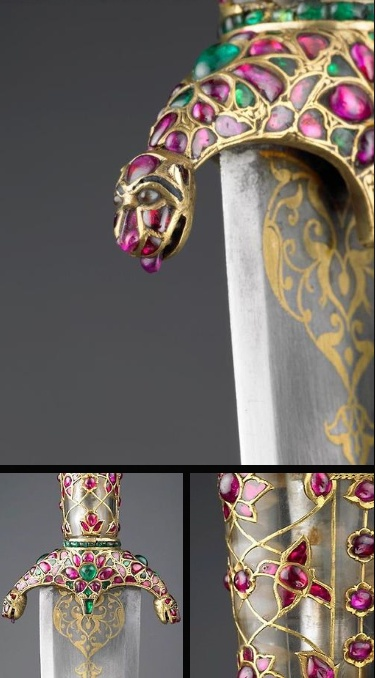 Details of a Mughal Dagger  •Unknown Artist / Maker  •Dated: 1562  •Culture: Delhi, India  •Medium:  steel, rock crystal, gold, rubies, emeralds, diamonds