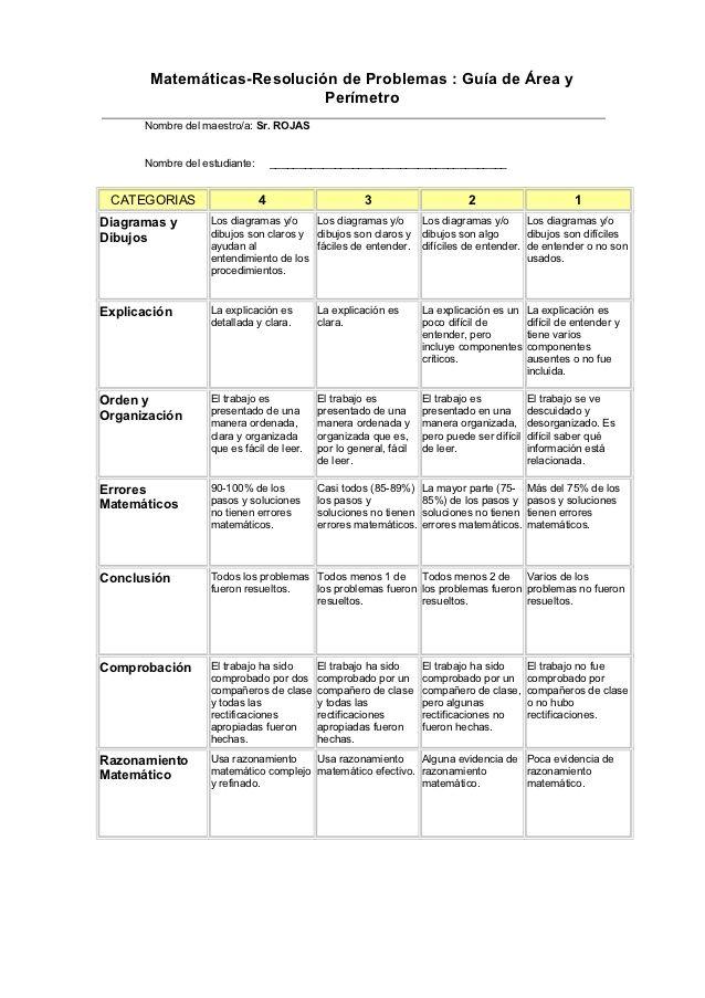 Matemáticas-Resolución de Problemas : Guía de Área y                            Perímetro      Nombre del maestro/a: Sr. R...
