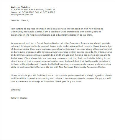 9 Sample Social Work Cover Letters Sample Templates Tresume