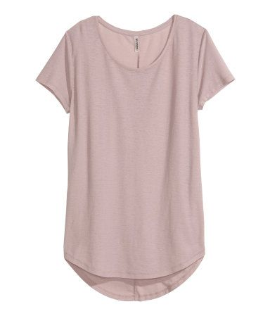 Dusty pink. Short-sleeved top in airy jersey crêpe. Rounded hem, slightly longer at back.