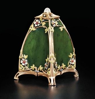 A jewelled and enamel two-colour gold-mounted nephrite jade bell-push marked Fabergé, workmaster's mark of Michael Perchin, St. Petersburg, 1896-1908,