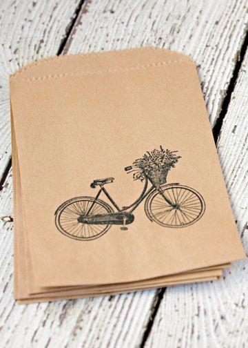 Hand stamped kraft bags vintage bike 4x6 kraft by NanticokeLane