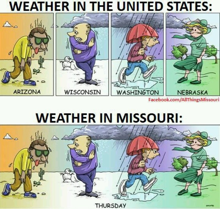 Missouri--Although I'm not sure why Michigan's weather is superior to Missouri's. I guess we are missing the lake-effect snow squall? #MissouriWeather #Missouri #Miscellany