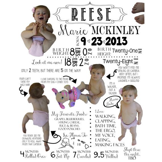 Baby's First Year Infographic, First Birthday Gift Idea by TwistedSisterShop, $75.00