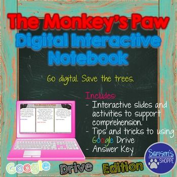 """The Monkey's Paw Unit This is a Google Drive product for the short story, """"The Monkey's Paw"""". Inside you will find: → directions and tips for accessing and using Google Drive  • an adaptation of the short story • vocabulary terms • vocabulary practice • plot diagram activity • comprehension questions • sequencing chart • student response chart • theme and mood activity • assessment"""