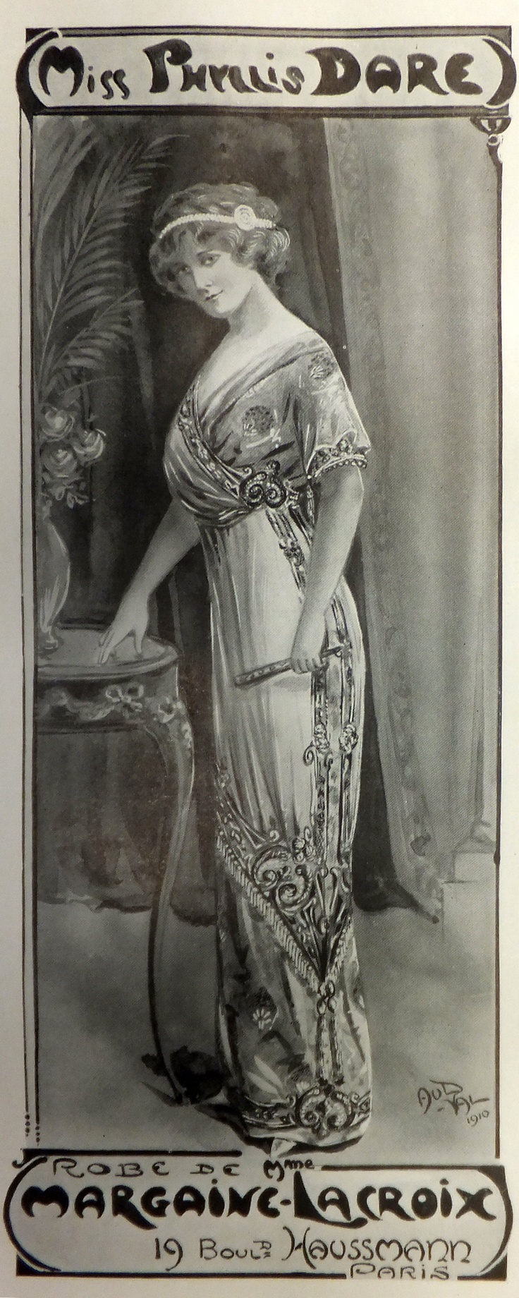 Phyllis Dare in The Girl in the Train, 1910. Vaudeville Theatre, London.  Margaine-Lacroix dressed many stars of the French stage and theatrical productions in both Paris and London