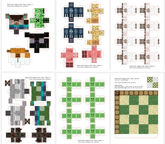 minecraft printable paper characters. 3-D.