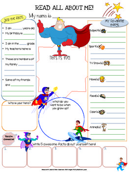 Superhero All About Me Printable -  This superhero themed All About Me 1 page worksheet (8.5x11) can be used as an icebreaker, get to know each other activity, Community Circle exercise, student of the week spotlight, birthday celebration spotlight, etc.