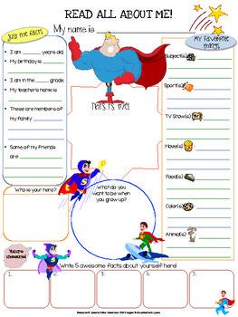 Superhero All About Me Printable