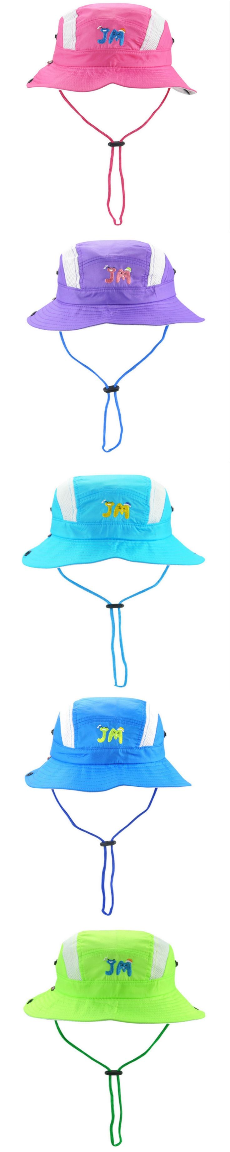 [JAMONT] Polyester children wide brim breathable summer bucket hat baby boy girl mesh sun hat kids fisherman panama with string