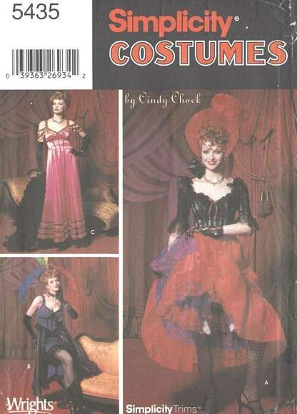 Simplicity 5435 Can-Can, Saloon Girl Costume, Hat Pattern 6-12