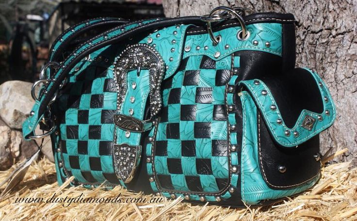 Bling Turquoise checkered handbag by Montana West sold in Australia by Dusty Diamonds Www.dustydiamonds.com.au