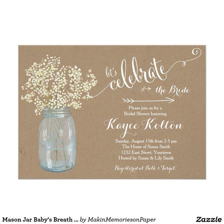 Mason Jar Baby\'s Breath Bridal Shower Invitation – sweetkingdom.co