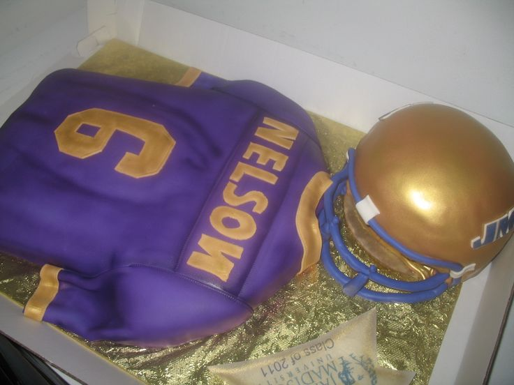 Make yourself a hero with the sweet-lovers of your tailgate crew by bringing a JMU Football Jersey Helmet Cake!