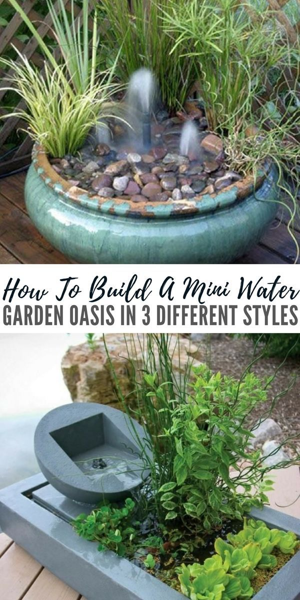 How To Build A Mini Water Garden Oasis In 3 Different Styles - As many of you know I try to have a wide mix of DIY projects that not only help you become more self reliant and prepared for hard times but also I like to find awesome projects like this one that can test you creative skills and save you a lot of money by building your own. #minigarden #waterfeature #gardening