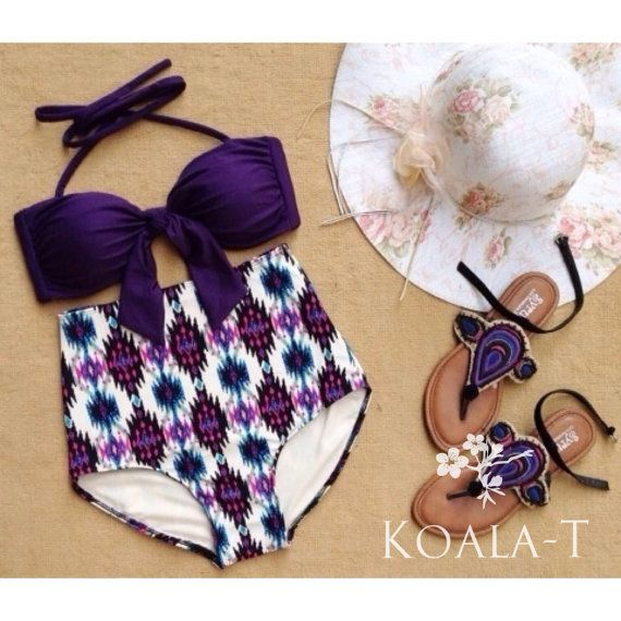 Dark Purple Top & Tribal Print High Waist Bikini by KoalaTFashion, $44.99 #madeinusa