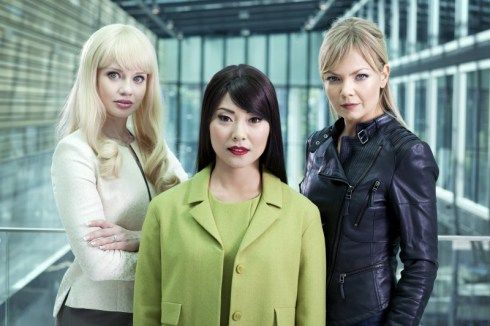 From left to right Josephine Alhanko as Flash, Lisette Pagler as Mimi and Marie Robertson as Beatrice.  Real Humans or Äkta Människor, was a Swedish TV series which provided the inspiration for 'Humans' the new sci-fi drama from Channel 4 and AMC.