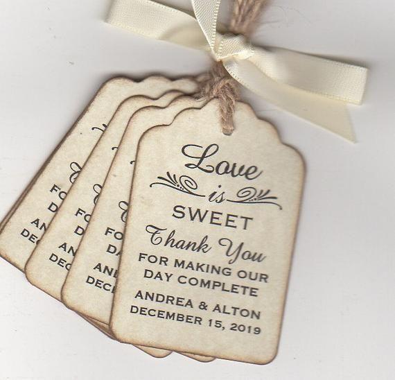 Love is Sweet Wedding Tags Monogram wedding favor tags Wedding favor tags