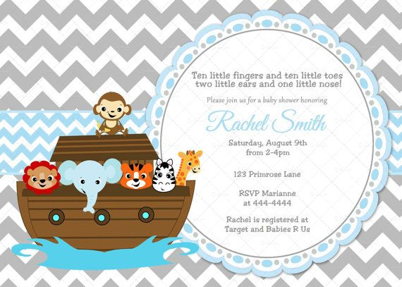 Blue and Grey Chevron Noah39;s Ark Baby Shower Invitation and FREE Thank