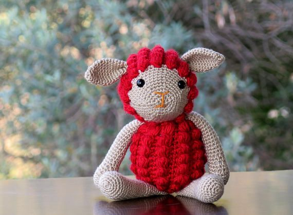Sheep Lamb Knitted Toy / red Sheep / Easter Gift Kid's Toy