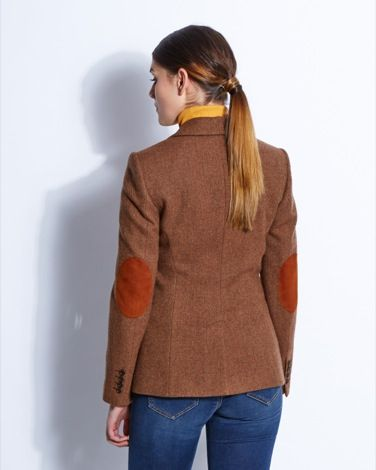 Equestrian-inspired jacket with suede elbow patches